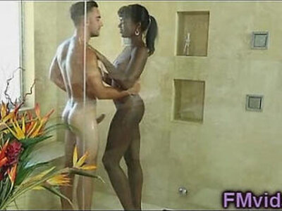 ebony  hottie  shower   porn video